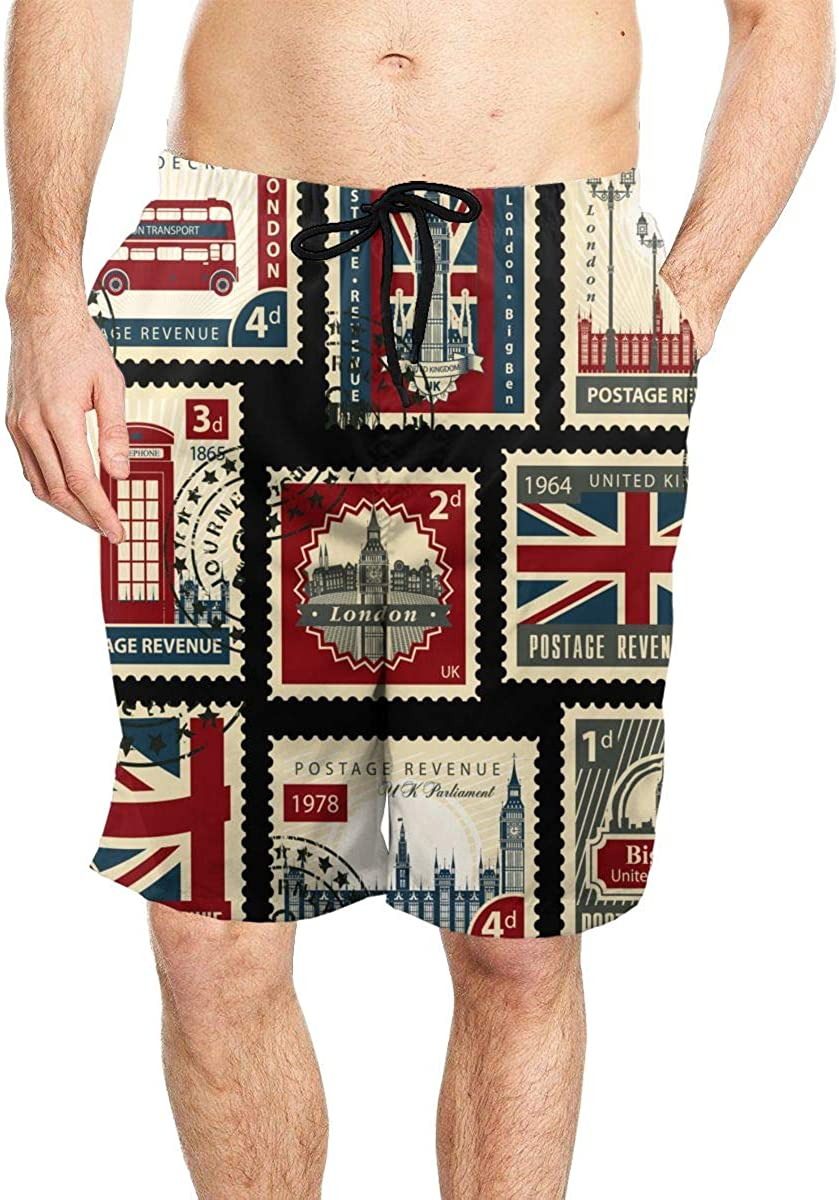 DASMUS Stamps with Union Jack Parliament Big Ben Men Quick Dry Beach Board Shorts Swim Trunks with Mesh Lining