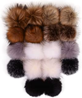 18pcs Fluffy Faux Fox Fur Pom Poms for Hats, 4.7 inches Faux Fur Pom Pom Balls for Hats, Detachable Pompoms with Elastic Cord, Great for Crochet Hats Beanies Scarves Shoes Bags