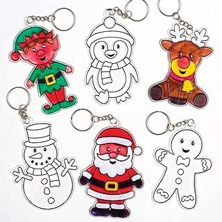 Baker Ross Ltd Christmas Suncatcher Keyrings Kits (Pack of 6) - Festive Arts and Craft