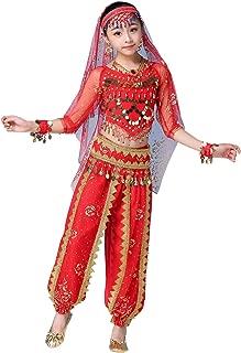 Happy Cherry Mädchen Fasching Karneval Bauchtanz Kostüm indische Tanzkleidung Oberteil  Pluderhosen  Gürtel  Hijab Kopfbedeckung