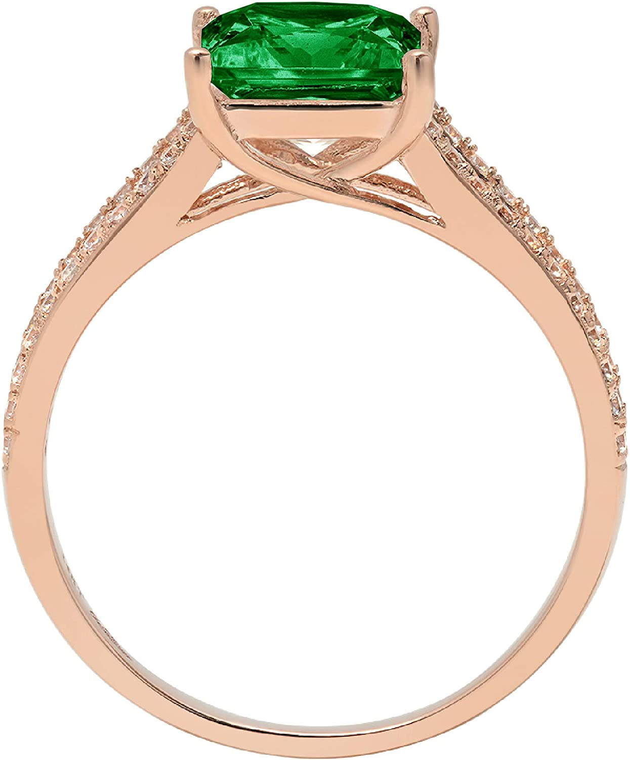 2.36ct Princess Cut Solitaire with Accent split shank Flawless Ideal VVS1 Simulated CZ Green Emerald Engagement Promise Statement Anniversary Bridal Wedding Designer Ring Solid 14k Rose Gold