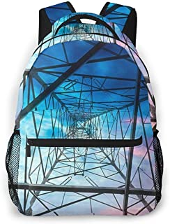 HUNANing Fashion Leisure Backpack for Girls and Boys, College Student School Laptop Daypack Teen Lightweight Casual Bookbags, High Capacity Travel Bag - Electricity_Power_Pylon