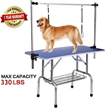 Professional Dog Pet Grooming Table Large Adjustable Heavy Duty Portable w/Arm & Noose & Mesh Tray, Maximum Capacity Up to 330LB