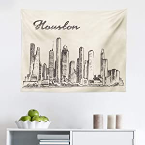 Lunarable USA Tapestry, Skyline of The Houston The Big City Structure of The Coast Front Traveling Destinations Cartoon, Fabric Wall Hanging Decor for Bedroom Living Room Dorm, 28