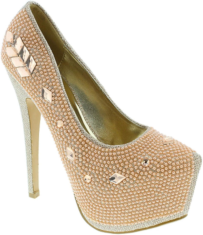 Rhinestone Platform Dressy Stiletto High Heel Pump Women's