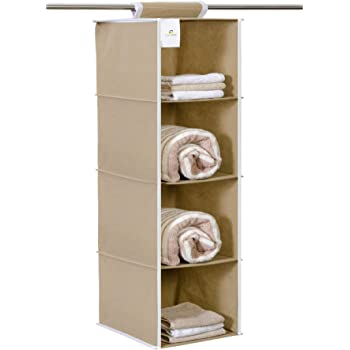 HomeStrap Non Woven Hanging 4 Shelves Wardrobe/Closet Cloth Organizer- Beige
