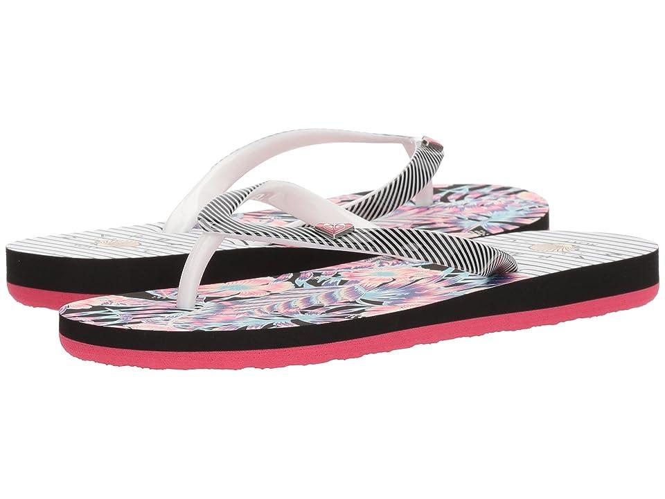 Roxy Kids Pebbles VI (Little Kid/Big Kid) (White/Black/Flower) Girls Shoes