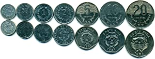 Costa RICA 7 Coins Set 1982 UNC 25 centimos - 20 colones Collectible Coins to Your Coins Album, Coin Holders OR Coin Collection