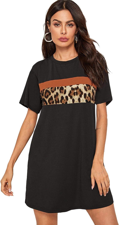Floerns Women's Short Sleeve Color Block Leopard Print Tunic Dress