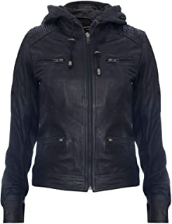 Women's Black Hooded 100% Nappa Leather Jacket