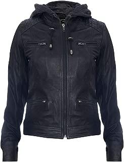 Women's Black Hooded 100% Nappa Leather Jacket