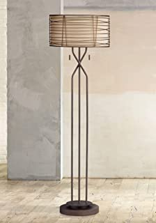 Marlowe Modern Floor Lamp Industrial Bronze Woven Iron and Burlap Double Drum Shade for Living Room Reading Bedroom - Franklin Iron Works