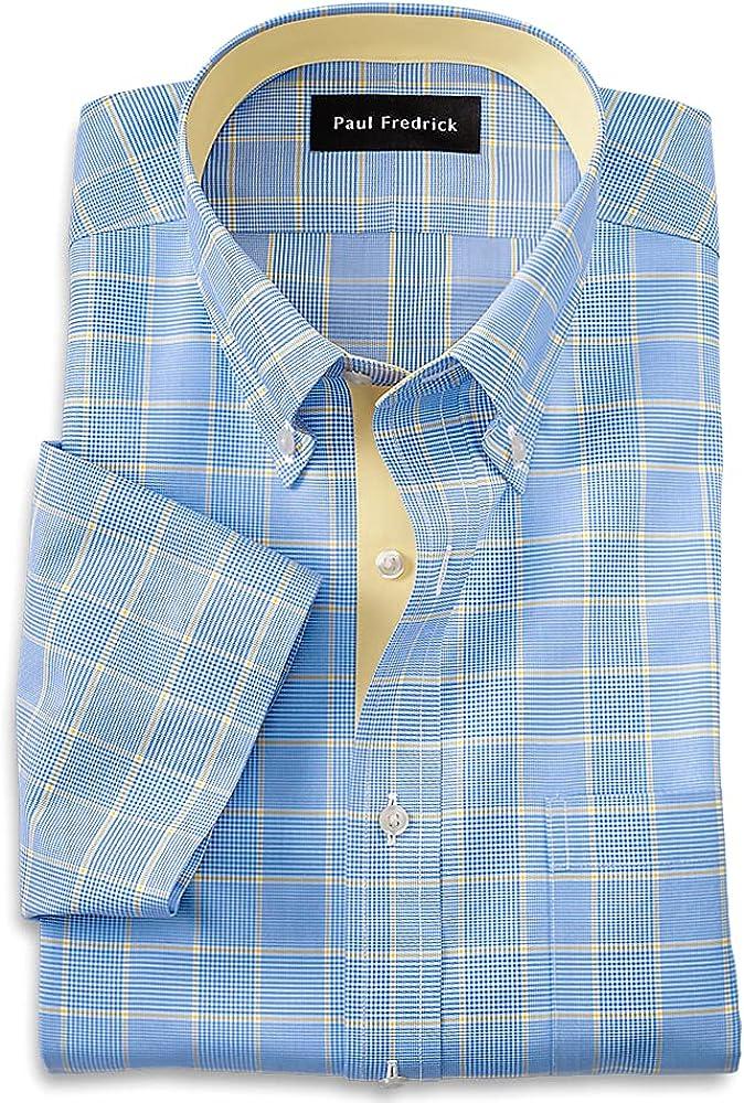 Paul Fredrick Men's Slim Fit Non-Iron Cotton Plaid Short Sleeve Dress Shirt