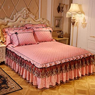TP&DD Lace Valance Ruffles Bed Wrap,Bed Skirt,Single Piece Frilled Base Quilted Thicken Dust Ruffle Abrasion Resistant Bed Skirt-b 200x220cm(79x87inch)