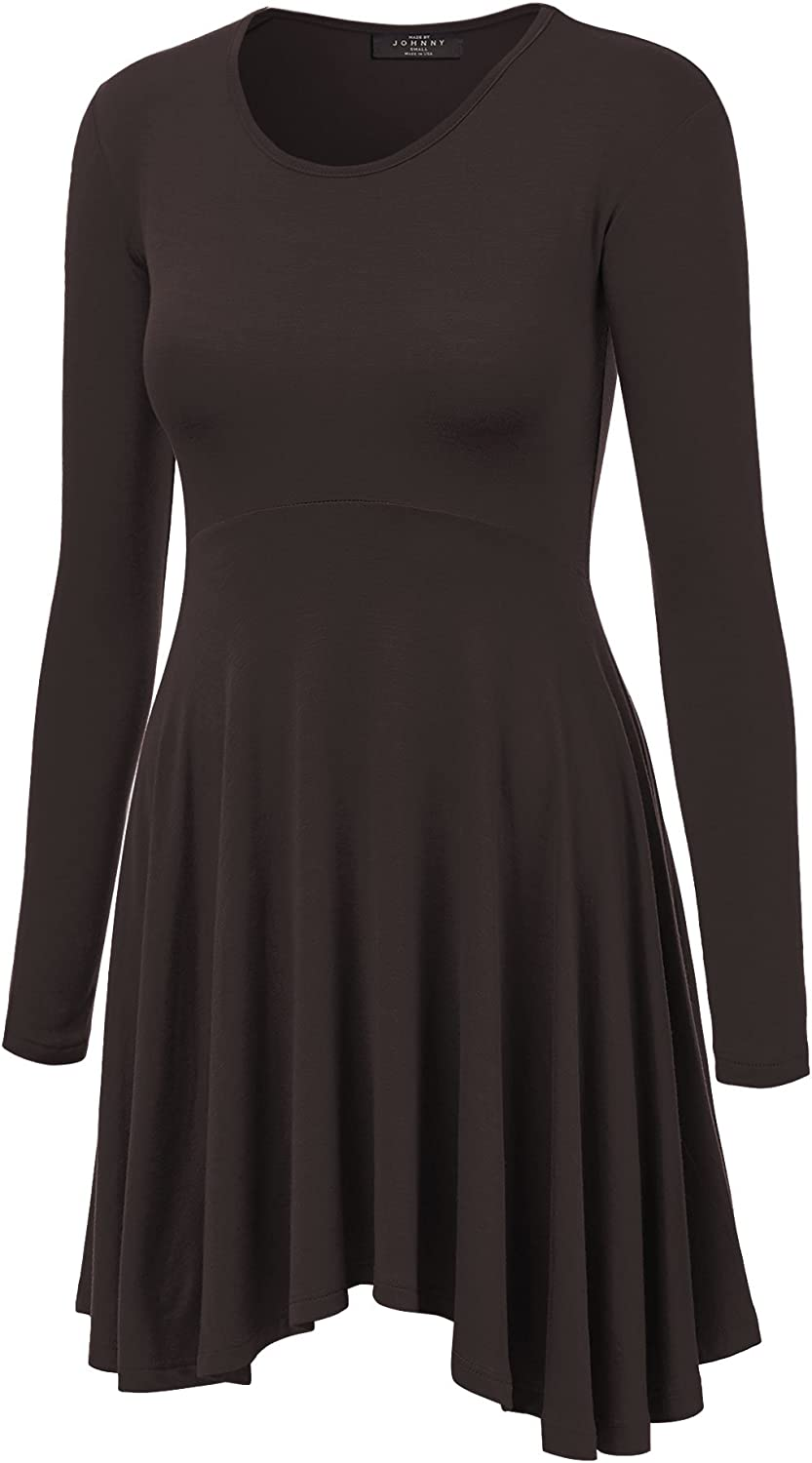 MBJ Womens Long Sleeve Curved Empire Line Draped Tunic Top  Made in USA