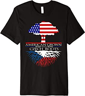 Czech Roots American Grown US Czechoslovakia European Flag Premium T-Shirt