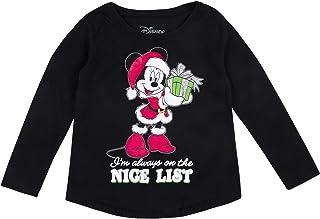 تي شيرت بأكمام طويلة بتصميم ميني ماوس عيد الميلاد على قائمة نايس جليتر للفتيات من ديزني