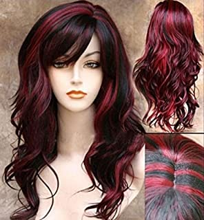 black wig with red streaks