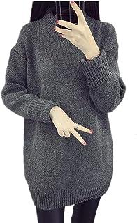 Mujer Suéter De Punto Moda Suave Jerseys Lana Otoño Invierno Elástica Cuello Redondo Modernas Casual Manga Larga Color Sól...