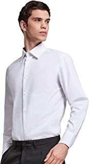 Camisa Blanca Lisa Clásica de Algodón para Hombre con Cuello Italiano, Manga Larga y Puños Largos con Dos Botones