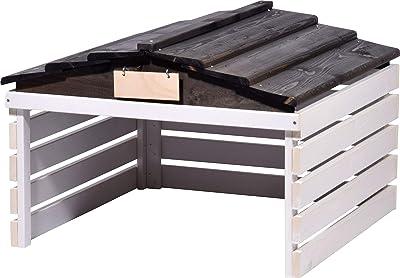 dobar Garage de Tondeuse avec Toit Amovible pour Voiture 78,5 x 74 x 52,5 cm Blanc/Noir