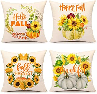 4TH Emotion Pumpkin Sunflower Fall Saying Throw Pillow Covers Farmhouse Thanksgiving Orange Cushion Case for Sofa Couch 18 x 18 Inches Cotton Linen Set of 4