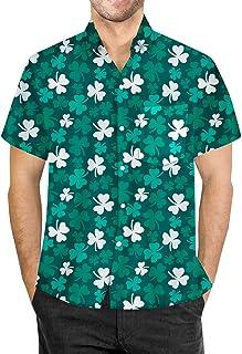 St Patrick's Day Men's Shamrock Printed Short Sleeves Button Down Shirt