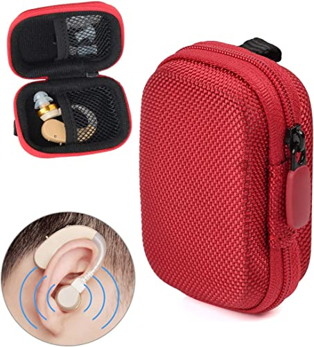lowest Designed Protective Case for online sale Hearing Aid, Hearing Amplifier, Personal Sound Amplifier, Hearing Device, Listening Device, Strong Mini Case with Mesh pocket, Universal design outlet online sale (Red) outlet online sale