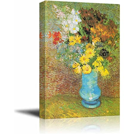 Amazon Com Wall26 Flowers In A Blue Vase 1887 By Vincent Van Gogh Canvas Print Wall Art Famous Oil Painting Reproduction 24 X 36 Everything Else