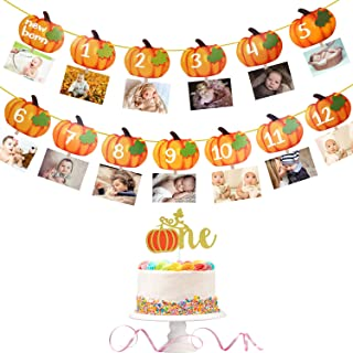 Pumpkin First Birthday Photo Banner Baby Monthly Milestone Photo Banner for Newborn to 12 Month Display with Pumpkin Theme Cake Topper First Year Baby Banner Fall Party Photo Booth Props Decorations