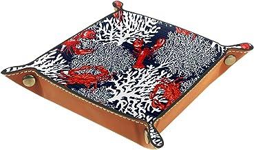 KAMEARI Skórzana taca czerwony krab raki morski biały koralowy klucz telefon pudełko na monety skóra bydlęca taca na monet...