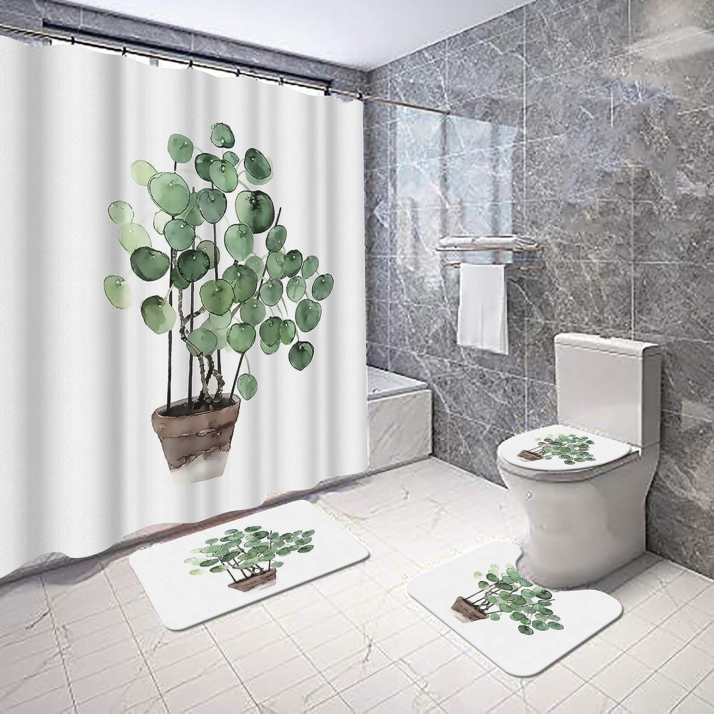 San Francisco Mall VividHome 4 Pcs Green Plant Shower with 5 ☆ popular Curtain Non-Slip Set Rug