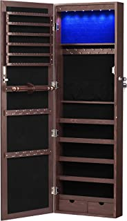 SONGMICS 6 LEDs Jewelry Cabinet Lockable Wall/Door Mounted Jewelry Armoire Organizer with Mirror, 2 Drawers, Dark Brown UJ...