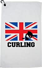 Hollywood Thread Great Britain Olympic - Curling - Flag - Silhouette Golf Towel with Carabiner Clip