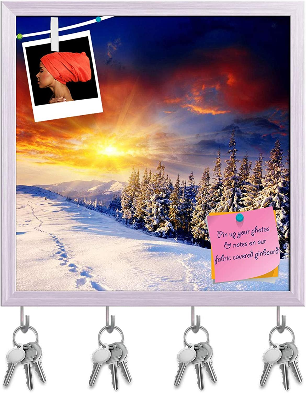 Artzfolio Majestic Sunset in The Winter Mountains Landscape Key Holder Hooks   Notice Pin Board   White Frame 16 X 16Inch