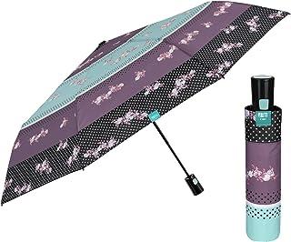 ENticerowts Parapluie Pliant en Dentelle pour Fille Motif Fleurs et Papillons Vert Vert