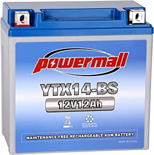 Powermall YTX14-BS 12V 12Ah Sealed Lead Acid AGM Rechargeable Replacement PTX14LBS-FS GTX14-BS ETX14 WP14-BS FAYTX14-BS UTX14 Battery for Kawasaki Honda Piaggio Aprilia Snowmobile ATVs Motorcycles