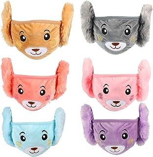 KESYOO 6PCS Kids Winter Face Cover Earmuffs Plush Bear Warm Ear Protective Cover Winter Ski Accessories fro Kid Child Boy ...