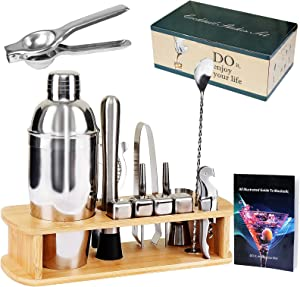 AerWo Cocktail Shaker Set Bartender Kit, 16-Piece Stainless Steel Bar Kit with Bamboo Stand & Cocktail Recipes Booklet, Professional Bar Set Tools for Drink Mixing, Home, Bar, Parties, Father's Day