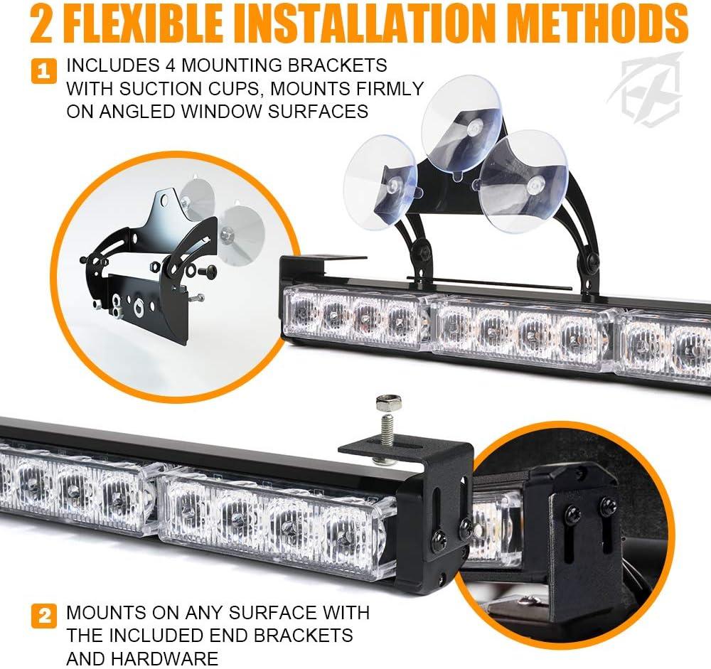 Xprite LED Emergency Traffic Advisor Strobe Light Bar Upgraded for Specific Police Vehicles Trucks Volunteer White/&Blue Interior Windshield Safety Hazard Warning Flashing Lightbars w// Control Box