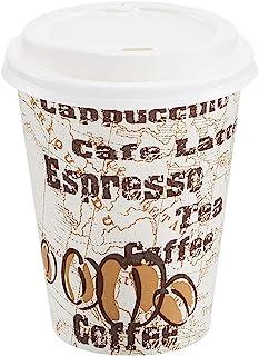 AmazonBasics Hot Cups with Lids, Café Design, 12 oz, 300-Count