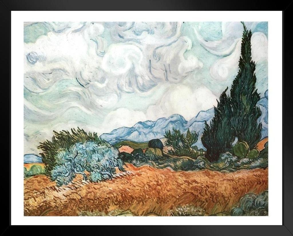 Wheatfield With Cypress Vincent Van Gogh HD Canvas Art Print Painting Multi Size