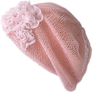 CHARM ベレー帽 サマーニット帽 [ フリーサイズ 展開 (メッシュ フラワー) ] 医療用帽子 レディース