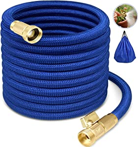 Garden Hose Expandable Garden Hose Flexible Garden Hose 50FT Water Hose No-Kink Flexible Expanding Water Hose with 4 Layer Latex Core, 3/4 Solid Brass Fittings for Watering/Washing/Cleaning