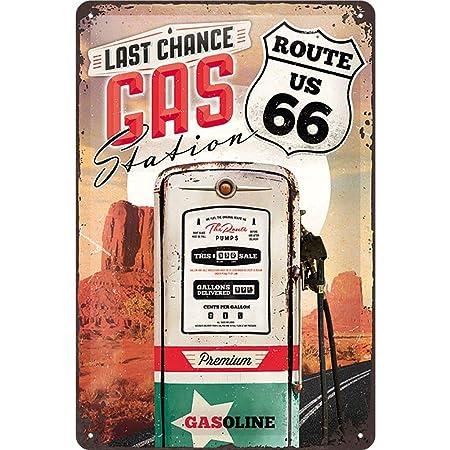 Nostalgic-Art Cartel de Chapa Retro Route Gas Station – Idea de Regalo para los Fans de la Ruta 66, metálico, Diseño Vintage, 20x30x0.2 cm