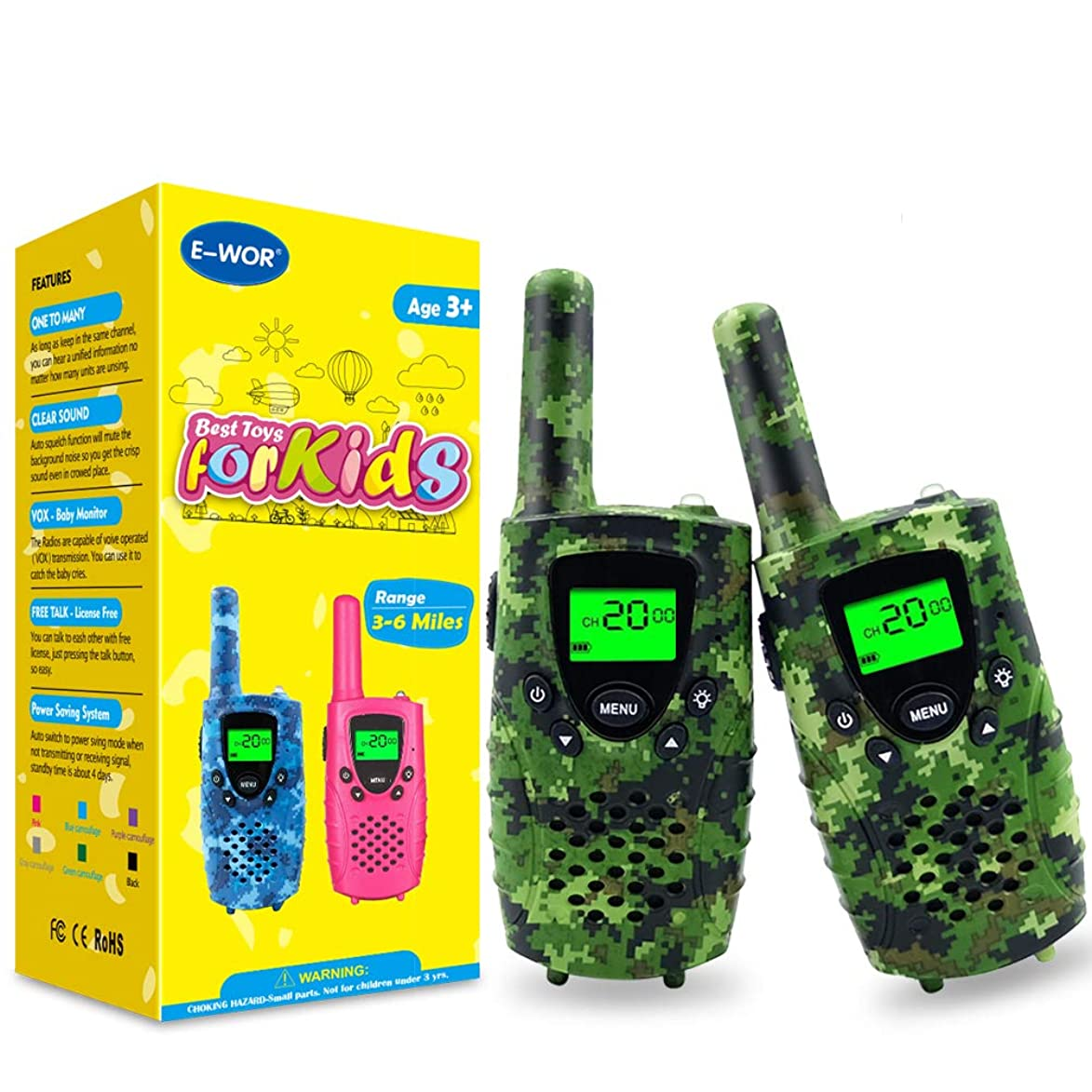 E-wor Walkie Talkies for Kids, 22 Channels FRS/GMRS UHF Kids Walkie Talkies, 2 Way Radios 4 Miles Walkie Talkies Kids with Flashlight-Best Gifts for Boys, 1 Pair,Camo Green