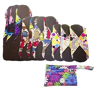 "10pcs Sanitary Pad, Reusable Washable Cloth Menstrual Pads with Wet Bag, Super-Absorbent, Soft and Comfortable Panty Liners(3pcs×8""+4pcs×9.8""+3pcs×12.6"")"