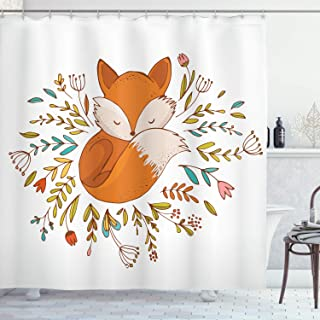 Ambesonne Cartoon Shower Curtain, Baby Fox Sleeping in a Floral Made Bed Circle Art Print, Cloth Fabric Bathroom Decor Set with Hooks, 70