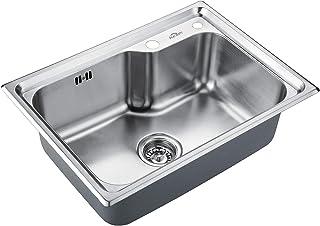 Auralum Edelstahl Küchenspüle Spülbecken 1 Becken, Einbauspüle Edelstahlspüle Küche Waschbecken Einzelbecken, 62x45cm