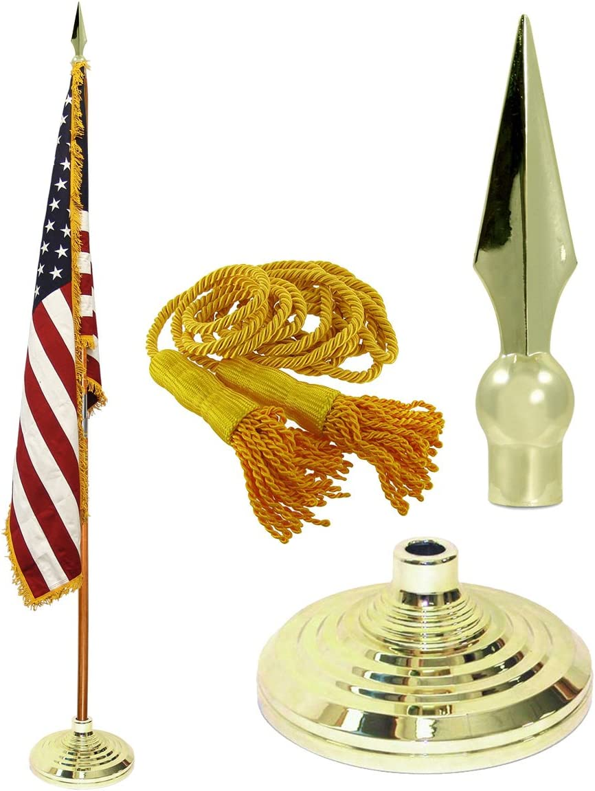 8ft Aluminum Banner Residential Indoor Flag Pole Gold Ball base 3x5 USA Grommet